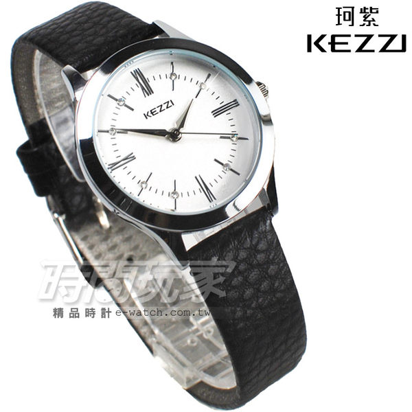 KEZZI珂紫 時尚羅馬設計腕錶 女款 皮革錶帶 鑽時刻 黑色 KE1338黑小
