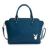PLAYBOY- 手提包可斜背 經典兔頭系列-綠藍色