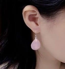 [協貿國際]天然粉水晶水滴耳環925純銀耳勾單對價