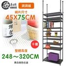 【居家cheaper】45X75X248~320CM微系統頂天立地十層洞洞板收納架 (系統架/置物架/層架/鐵架/隔間)