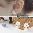 耳環 現貨 韓國時尚氣質甜美閃亮微鑲花朵貝殼珍珠水晶銀針耳環 S91280 批發價Danica 韓系飾品