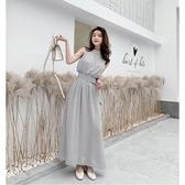 NiCELIFE 【D5837】 無袖洋裝 韓版 修身 顯瘦 長款 無袖 雪紡 連衣裙