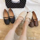 夏季韓版平底淺口單鞋女時尚百搭套腳軟底奶奶鞋豆豆鞋潮 盯目家