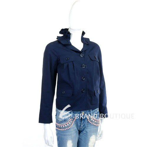 MOSCHINO 深藍色領邊抓褶設計外套 0920155-34