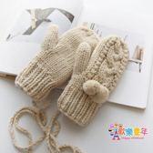 圍美新款刷毛保暖連指手套女冬可愛韓版 學生加厚掛脖毛線手套