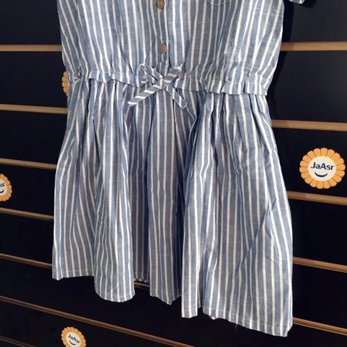 ☆棒棒糖童裝☆夏女童棉麻材質休閒條紋款洋裝  120-160