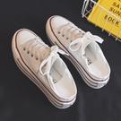 2021春季新款一鞋兩穿半拖厚底帆布鞋女小眾一腳蹬百搭小白鞋板鞋 韓國時尚 618