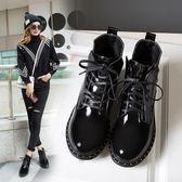 馬丁靴女士短靴韓版中跟復古學生高幫靴英倫社會人機車靴單靴-黑色地帶