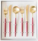 Cutipol【日本代購】葡萄牙 GOA系列餐具 紅/金晚餐6件套