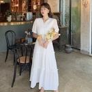 洋裝 V領雪紡連身裙-媚儷香檳-【D1517】