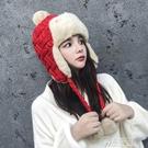 雷鋒帽子女冬天毛線帽針織保暖護耳帽秋冬加厚冬季韓版顯臉小百搭  聖誕節免運