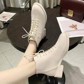 短靴 白色馬丁靴女英倫風2019新款春秋款單靴粗跟短靴帥氣機車靴小跟冬