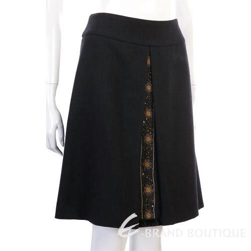 BLANCS MANTEAUX 黑色繡花點綴及膝裙 0520354-01