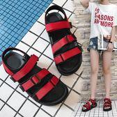 涼鞋韓版魔術貼厚底鬆糕鞋學生百搭平底沙灘羅馬鞋潮「尚美潮流閣」