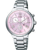 CITIZEN xC 浪漫城市鈦金屬光動能計時腕錶-粉紅x銀/35mm FB1330-55W