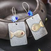 耳環 925純銀-鯉魚造型生日聖誕節禮物女飾品73hl21[時尚巴黎]
