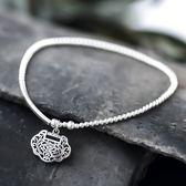 S925純銀腳鍊女復古長命鎖手工成人足鍊個性銀飾定制 范思蓮恩