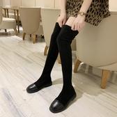 鞋子女潮鞋秋冬季新款方頭過膝長筒靴平底彈力靴中筒短筒靴子  koko時裝店