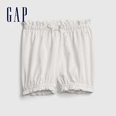 Gap嬰兒 純棉舒適鬆緊褲腿短褲 681773-白色