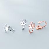 鑲鑽 鯨魚 小巧 甜美 無耳洞 耳骨 夾式 耳環