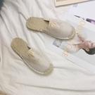 草編鞋 春夏新款刺繡草編亞麻漁夫鞋女外穿平底包頭復古半拖鞋懶人鞋-Ballet朵朵