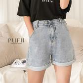 PUFII-短褲 褲反褶後鬆緊高腰牛仔短褲- 0714 現+預 夏【CP18843】