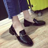 單鞋女粗跟春季女鞋新款英倫風復古方頭套腳中跟漆皮小皮鞋潮【販衣小築】