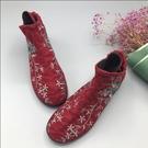 老北京布鞋女秋冬款新款中國風刺繡加棉軟底防滑繡花媽媽布鞋