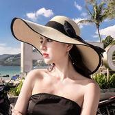 沙灘草帽子女夏天海邊大帽檐防曬遮陽出游