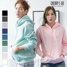 Cherry e購【KL6335】優惠價2件600,素面刷毛厚磅不起毛球連帽長T_9色