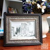 金屬相框 優雅黑色木質相框掛墻美式鄉村大氣擺台復古做舊金屬銀色創意7寸【1件免運】