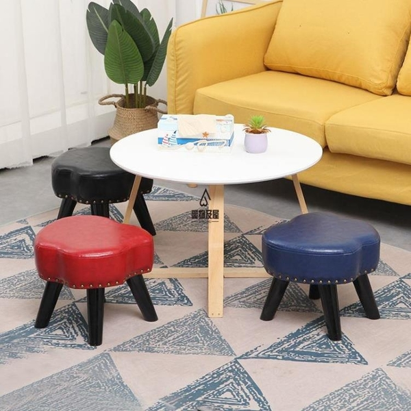 美式換鞋凳家用客廳皮凳茶幾凳墩子創意小皮凳擱腳矮凳沙發蘋果凳【愛物及屋】