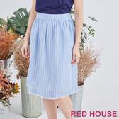 【RED HOUSE 蕾赫斯】條紋蕾絲裙(淺藍色)