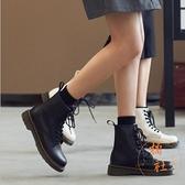 短靴女透氣防水靴子馬丁靴秋冬百搭厚底休閒【橘社小鎮】