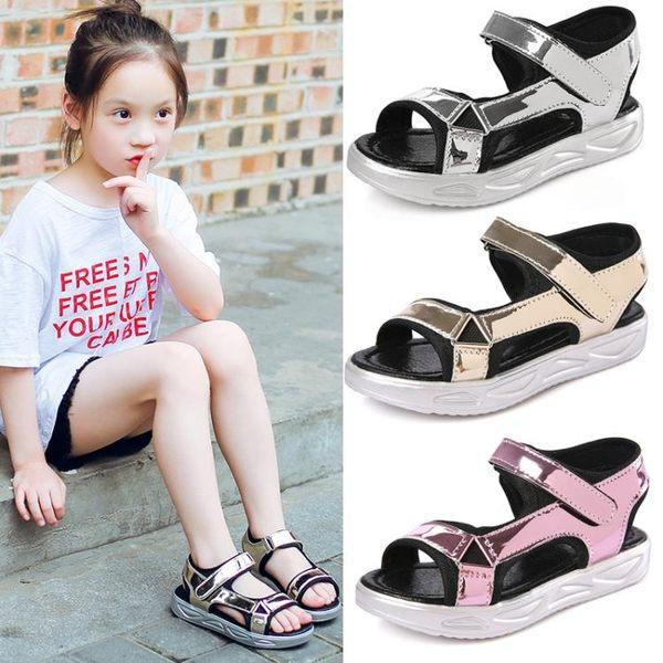兒童女涼鞋新款正韓兒童公主鞋露趾平底沙灘鞋【好康八折】