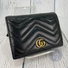 BRAND楓月 GUCCI GG 古馳 466492 經典 黑色 MARMONT 縫線 GG LOGO 短夾 皮夾 錢包