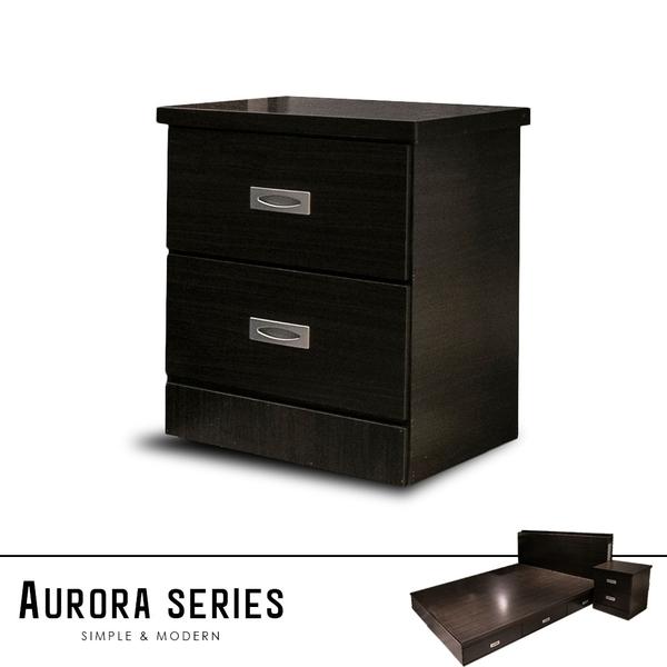 AURORA奧羅拉雙抽床頭櫃(2色)拼接柚木色/胡桃色【obis】