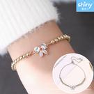 【37A51】shiny藍格子-甜美亮點.清新微鑲鑽蝴蝶結串珠手鏈