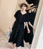 工廠批發不退換一裙兩穿隨性美XL-5XL/中大尺碼33149夏季新款棉麻系腰寬松顯瘦連衣裙