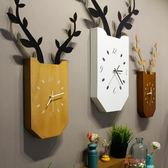 客廳創意掛鐘北歐木質兒童房臥室靜音時鐘掛表現代簡約壁掛鐘表