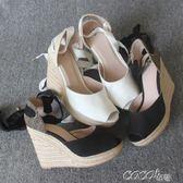 魚嘴涼鞋 優雅女式絆帶時尚前衛草編魚嘴坡跟涼鞋適合瘦腳 coco衣巷