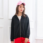 短版外套--簡約時尚立領口袋拼接拉鍊寬鬆修身素色刷毛外套(黑.灰XL-4L)-J262眼圈熊中大尺碼◎
