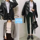 【V1473】shiny藍格子-潮流時尚‧翻領寬鬆PU短款長袖外套