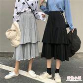 紗裙 高腰蛋糕裙半身裙中長款韓版春季新款氣質高腰荷葉邊學生A字裙子