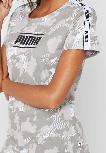 PUMA 女裝 短袖 上衣 圓領 舒適 透氣 肩膀織帶 迷彩 綠【運動世界】57955702