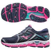 MIZUNO (女) WAVE SKY 女慢跑鞋 / 黑X桃紅 - J1GD170263