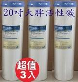 20吋BL大胖顆粒活性碳濾心T33/濾材/全屋式水塔過濾/商業用淨水器濾芯3入特惠