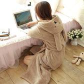 冬季卡通可愛珊瑚絨睡袍女冬加厚加長款韓版公主睡衣性感浴衣浴袍【onecity】