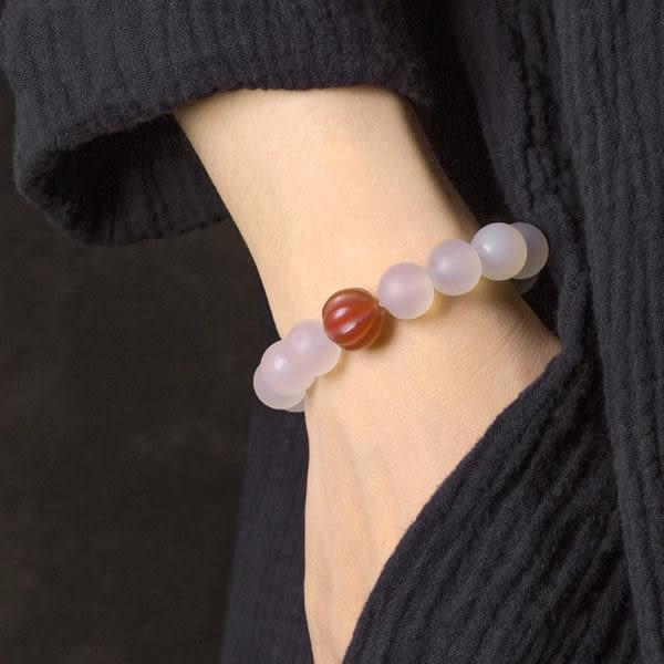 白瑪瑙手串小眾珠子手鍊簡約復古個性/設計家