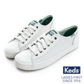 KEDS - KICKSTART 時尚皮革透氣孔休閒鞋-白/綠